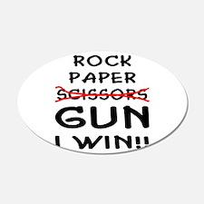 Rock Paper Scissors Gun I Win 22x14 Oval Wall Peel