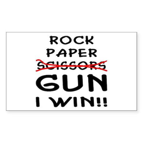 Rock Paper Scissors Gun I Win Sticker (Rectangle)