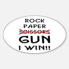 Rock Paper Scissors Gun I Win Sticker (Oval)