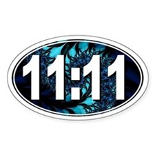 11:11 Numerology (Fractal Design) Oval Decal