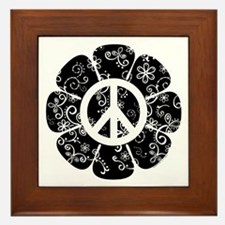 Peace Symbol Flower Framed Tile