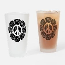 Peace Symbol Flower Drinking Glass