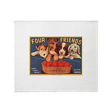 Four Puppy Friends Throw Blanket