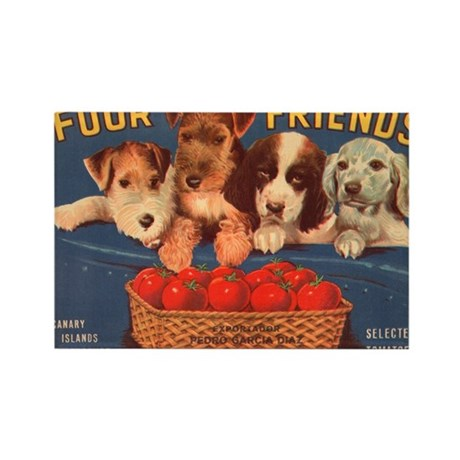 Four Puppy Friends Rectangle Magnet
