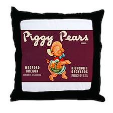 Piggy Pears Throw Pillow