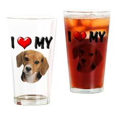I Love My Beagle Drinking Glass