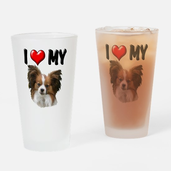 I Love My Papillon Drinking Glass