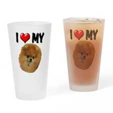 I Love My Pomeranian Drinking Glass