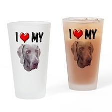 I Love My Weimer Drinking Glass