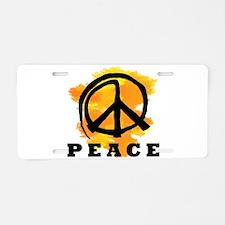 Peace Orange Aluminum License Plate