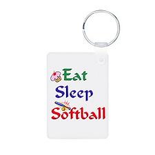 Eat Sleep Softball Keychains
