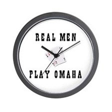 Real Men Play Omaha Wall Clock