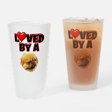 Loved by a Pekingnese Drinking Glass