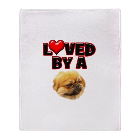 Loved by a Pekingnese Throw Blanket