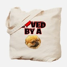 Loved by a Pekingnese Tote Bag