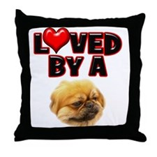 Loved by a Pekingnese Throw Pillow