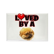 Loved by a Pekingnese Rectangle Magnet