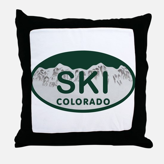 Ski Colo License Plate Throw Pillow