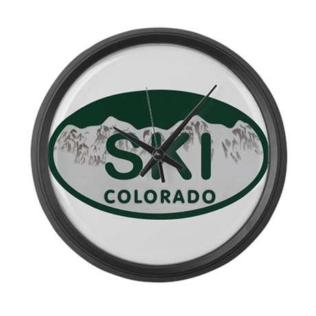 Ski Colo License Plate Large Wall Clock