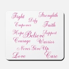 Breast Cancer Words of Inspiration Mousepad