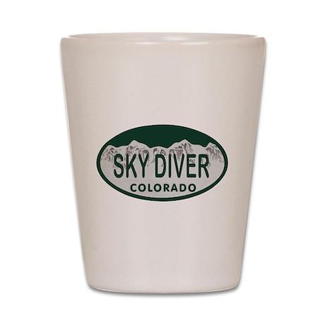Sky Diver Colo License Plate Shot Glass