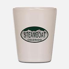Steamboat Colo License Plate Shot Glass