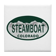 Steamboat Colo License Plate Tile Coaster