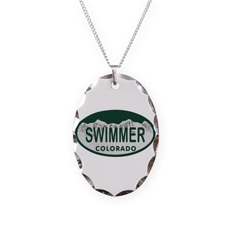 Swimmer Colo License Plate Necklace Oval Charm