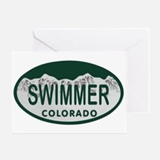 Swimmer Colo License Plate Greeting Card