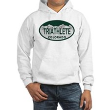 Triathlete Oval Colo License Plate Hoodie