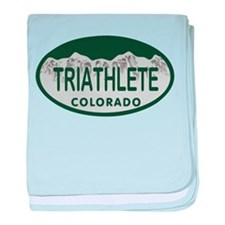 Triathlete Oval Colo License Plate baby blanket