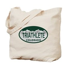 Triathlete Oval Colo License Plate Tote Bag