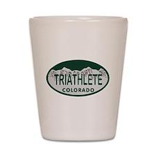 Triathlete Oval Colo License Plate Shot Glass