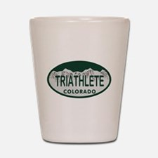 Triathlete Oval Colo License Plate Shot Glass