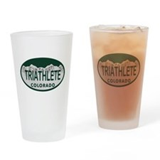 Triathlete Oval Colo License Plate Drinking Glass