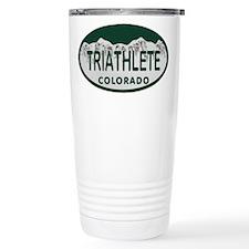 Triathlete Oval Colo License Plate Travel Mug