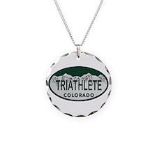 Triathlete Oval Colo License Plate Necklace