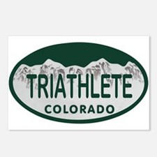 Triathlete Oval Colo License Plate Postcards (Pack