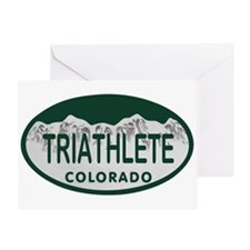 Triathlete Oval Colo License Plate Greeting Card