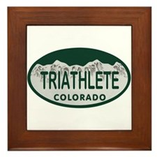 Triathlete Oval Colo License Plate Framed Tile