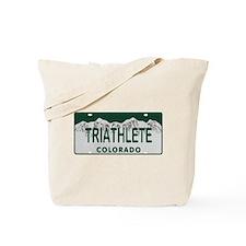 Triathlete Colo License Plate Tote Bag