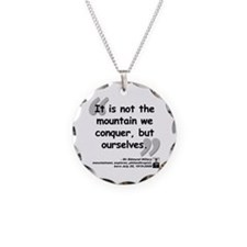 Hillary Conquer Quote Necklace Circle Charm