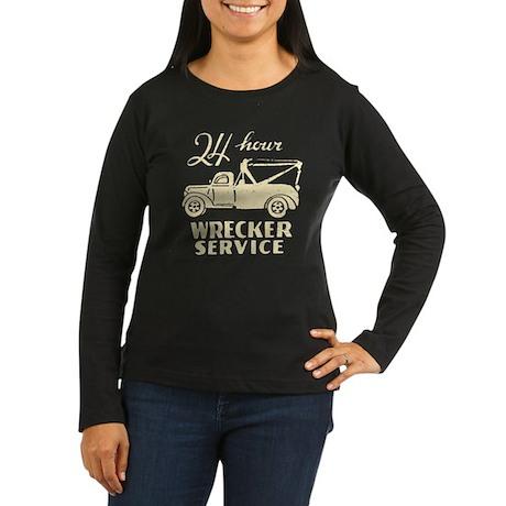 Retro Wrecking Truck Women's Long Sleeve Dark T-Sh