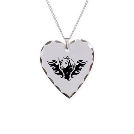 Rhino Necklace Heart Charm