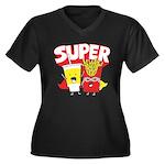 Super Women's Plus Size V-Neck Dark T-Shirt