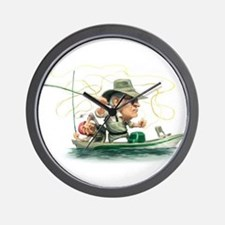 Cute Gone fishing Wall Clock