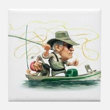 Cute Fishermans fly Tile Coaster
