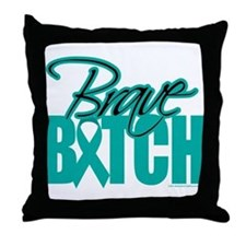 Brave Bitch Cervical Cancer Throw Pillow