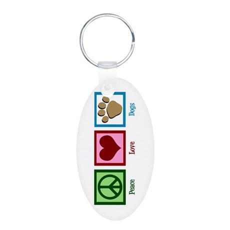 Peace Love Dogs Aluminum Oval Keychain