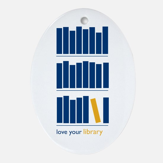 Love Your Library (blue art) Oval Ornament